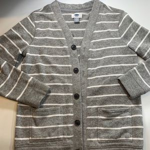 Old Navy   Gray White Stripped Cardigan Size 10/12